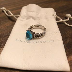 David Yurman Petite Wheaton Ring Hampton Blue Sz 7